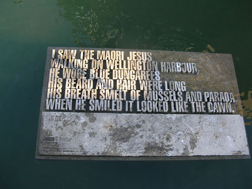 celtic_writer: Photo of quote stone from New Zealand poet James Baxter, located in water of Wellington Harbor